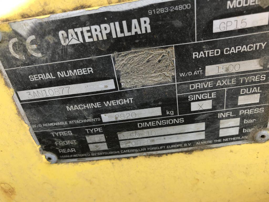 CATERPILLAR GP15 1500 kg Used LPG Fofkrlift - 3AN10877